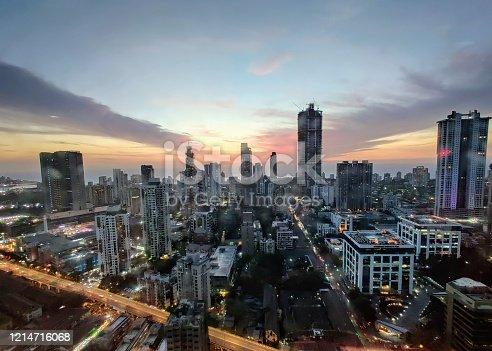 Sunset scenes against the Mumbai Skyline