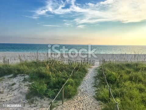 sunset on the dunes in the beach