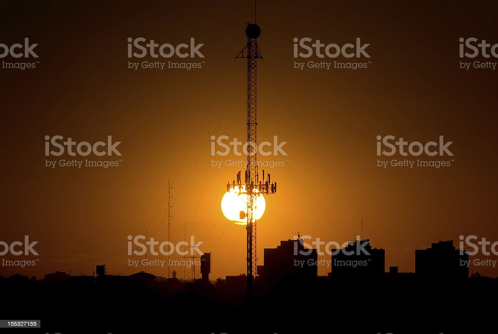 Sunset and Antenna royalty-free stock photo