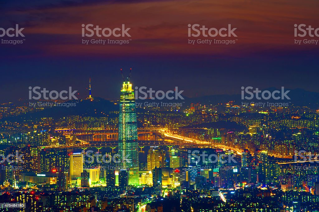 Sunset and beautiful sky at Lotte world mall in Seoul, stock photo
