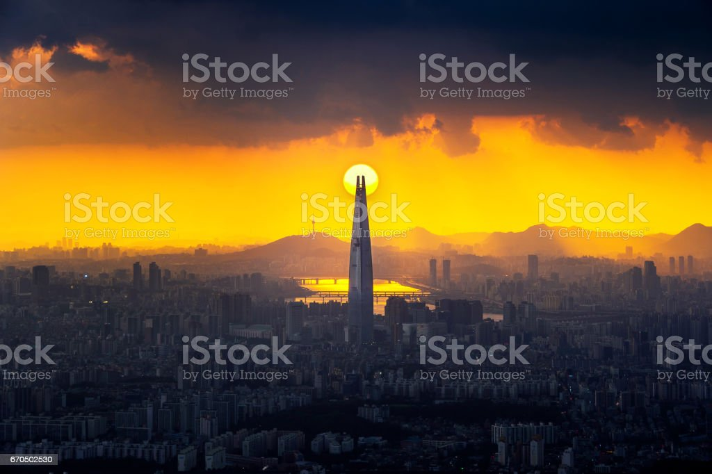 Sunset and beautiful sky at Lotte world mall in Seoul,South Korea.The best view of South Korea at Namhansanseong Fortress. stock photo