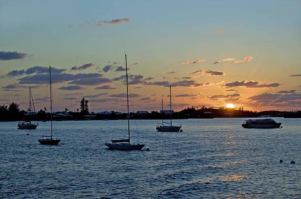 Sunset and Bermuda Boats stock photo
