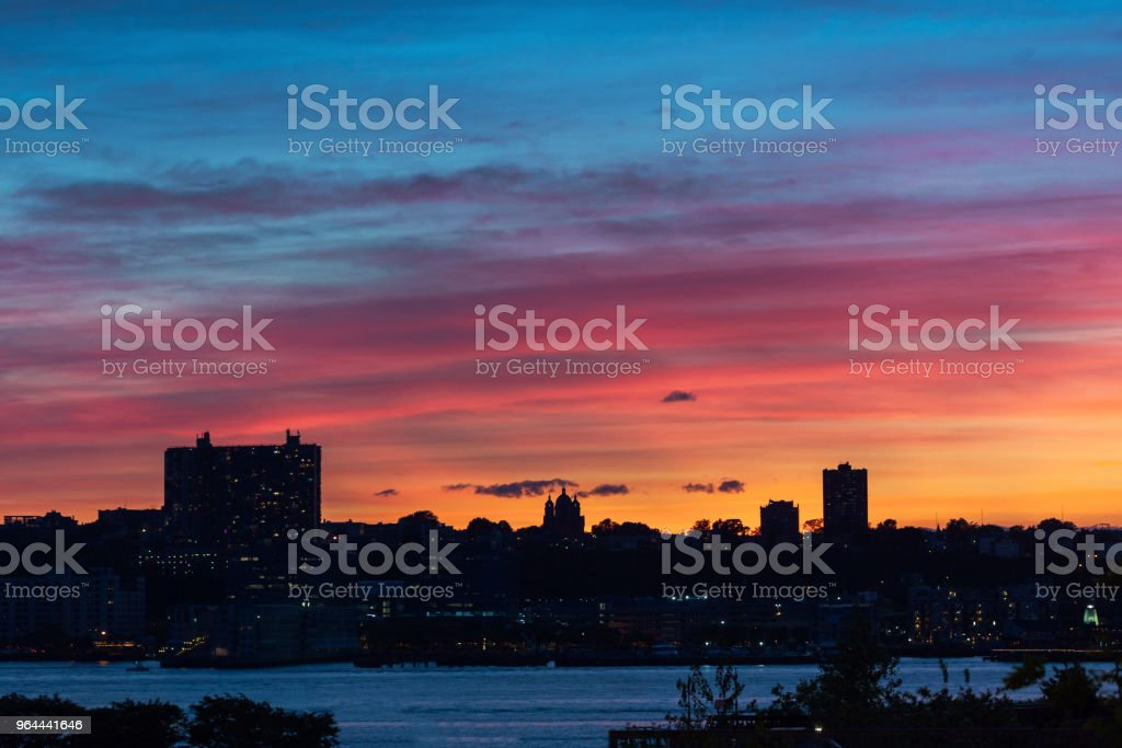 Sunset and Building Manhattan New York - Royalty-free Architectural Feature Stock Photo