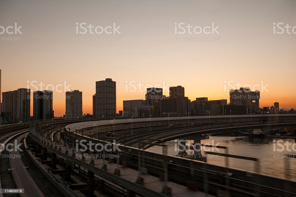 Sunset and buildings of Tokyo. royalty-free stock photo