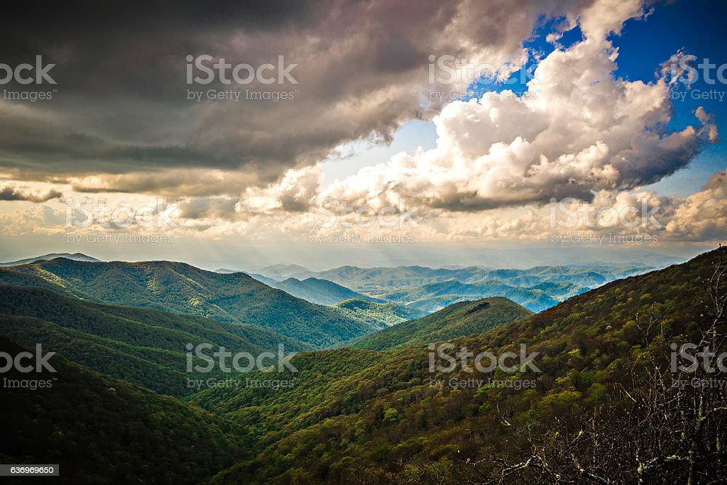 sunset and clouds at craggy gardens blue ridge parkway stock photo