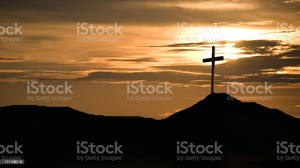 Sunset and Crucifix royalty-free stock photo