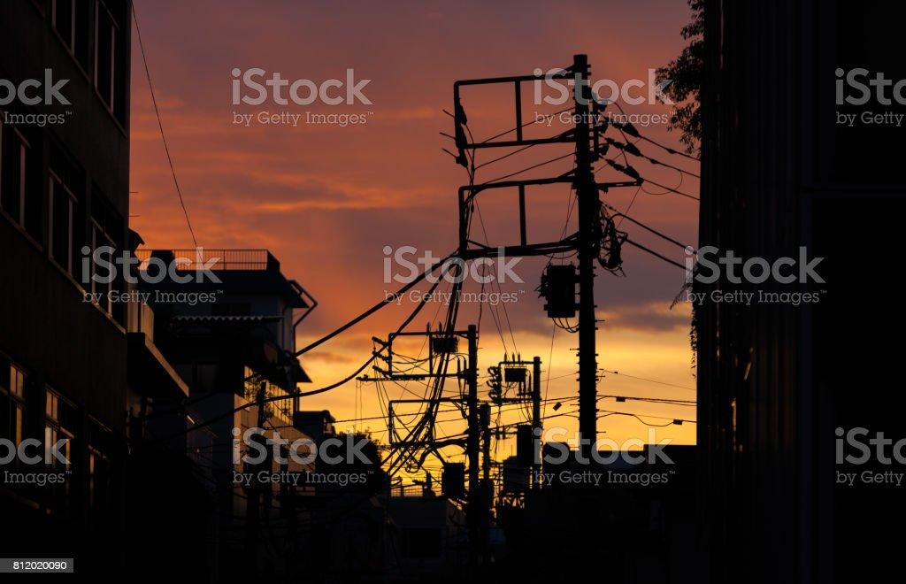 夕日と電線。 ストックフォト