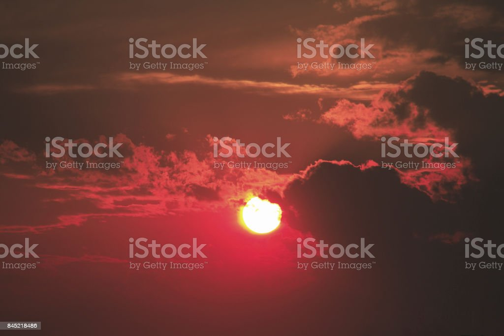 Sunset and evening scenery stock photo