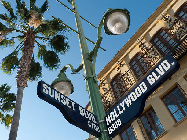 Sunset and Hollywood Boulevard Street Sign  sunset boulevard los angeles stock pictures, royalty-free photos & images