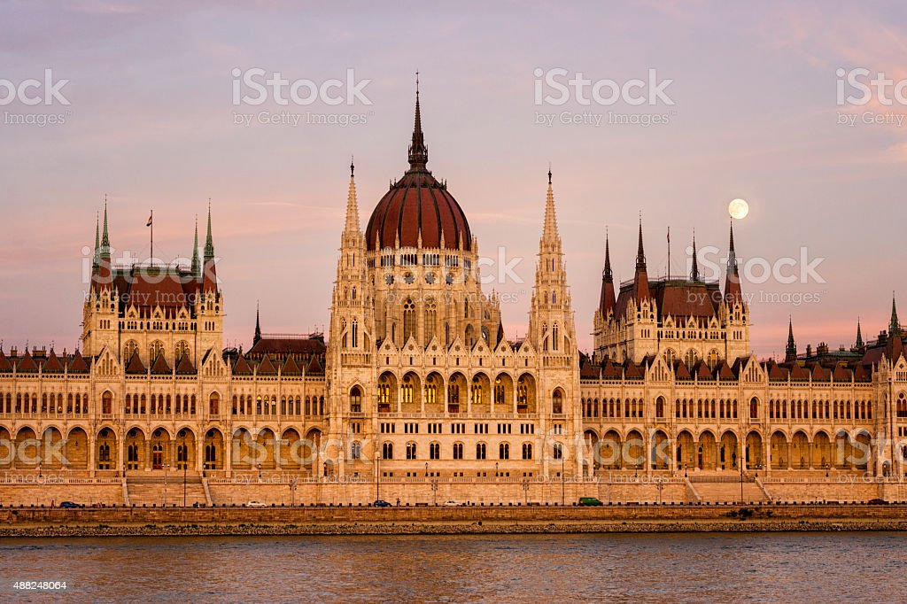 sunset and Hungarian Parliament stock photo