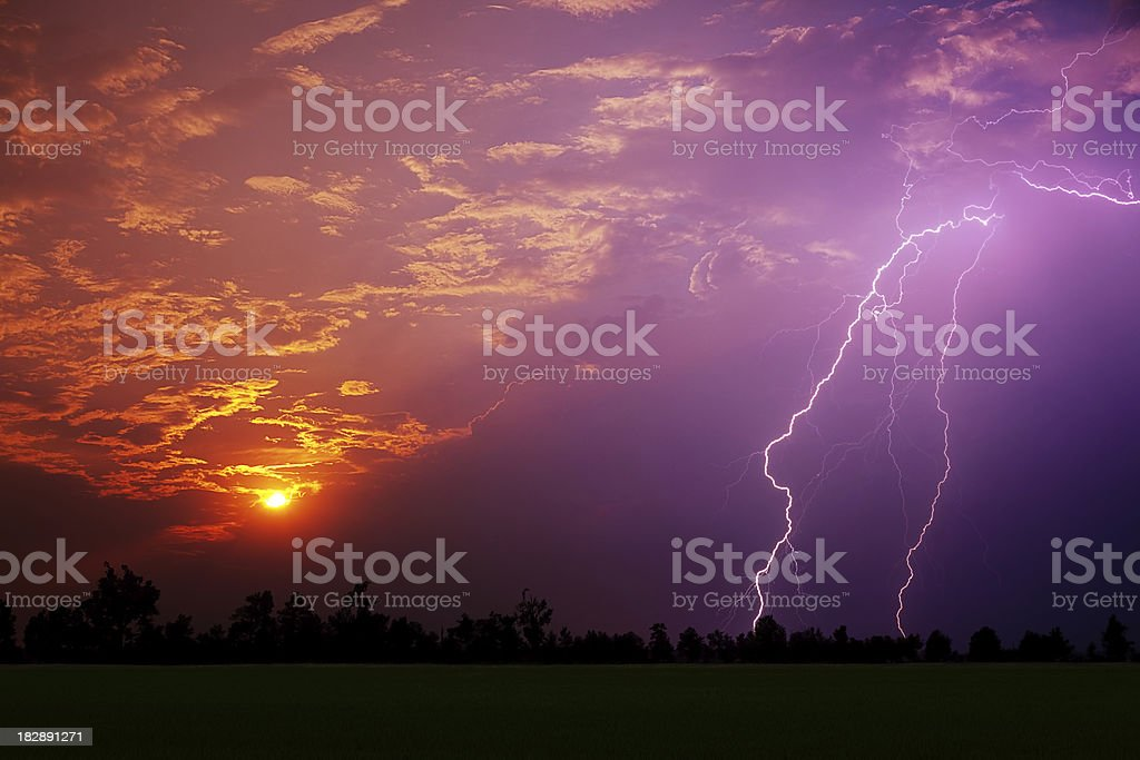 Sunset and Lightning Bolt royalty-free stock photo
