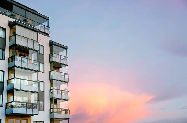 Sunset and modern architecture bildbanksfoto