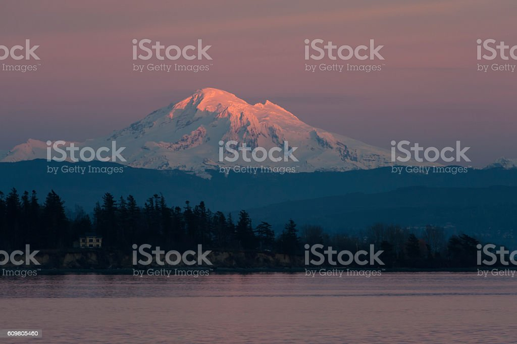 Sunset and Mt. Baker, Washington stock photo