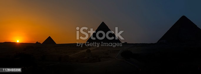 Sunset and Pyramids in Giza, Cairo