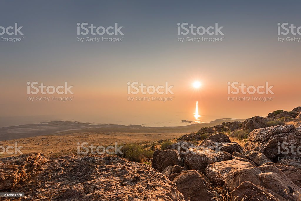 Sunset and ray path at Antelope Island stock photo