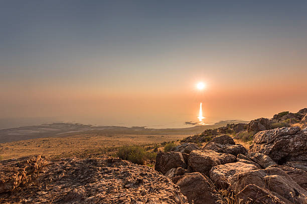 Sunset and ray path at Antelope Island stock photo
