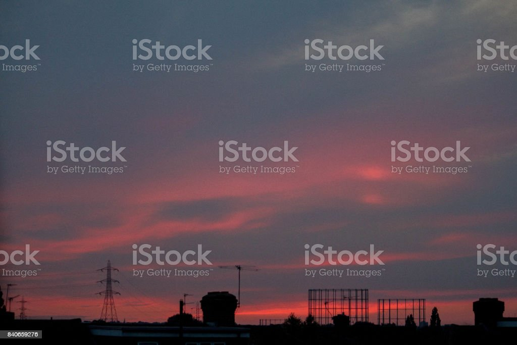 Sunset and Roofs stock photo