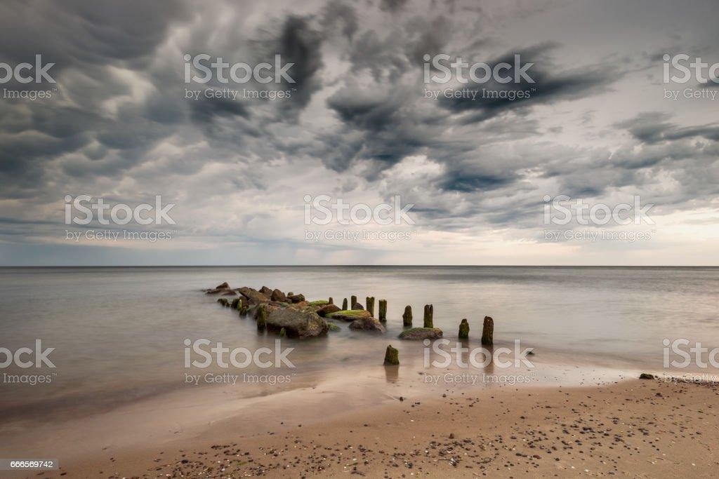 Sunset and sea, Baltic Sea  - Poland , Chałupy stock photo