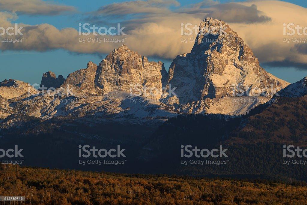 Sunset And The Grand Teton stock photo
