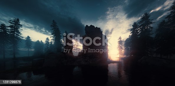 Sunset and twilight over lake and forest wilderness. 3d rendering.