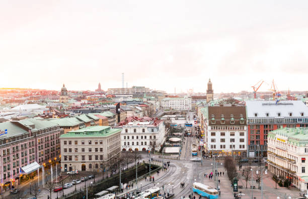 Sunset and view of downtown Gothenburg. stock photo