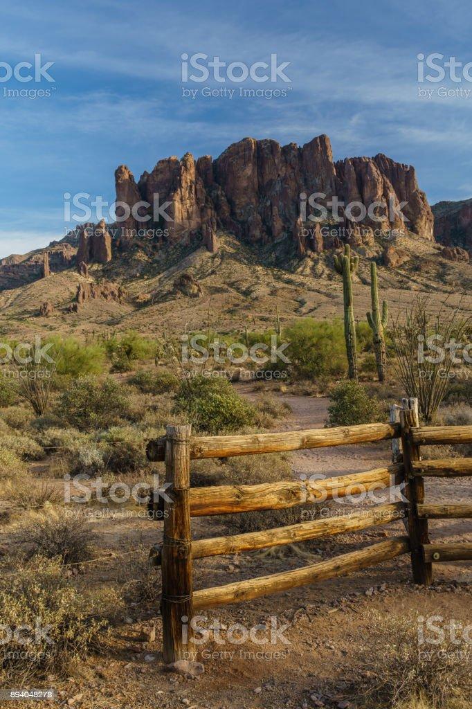 Sunset approaches the Arizona rugged desert stock photo