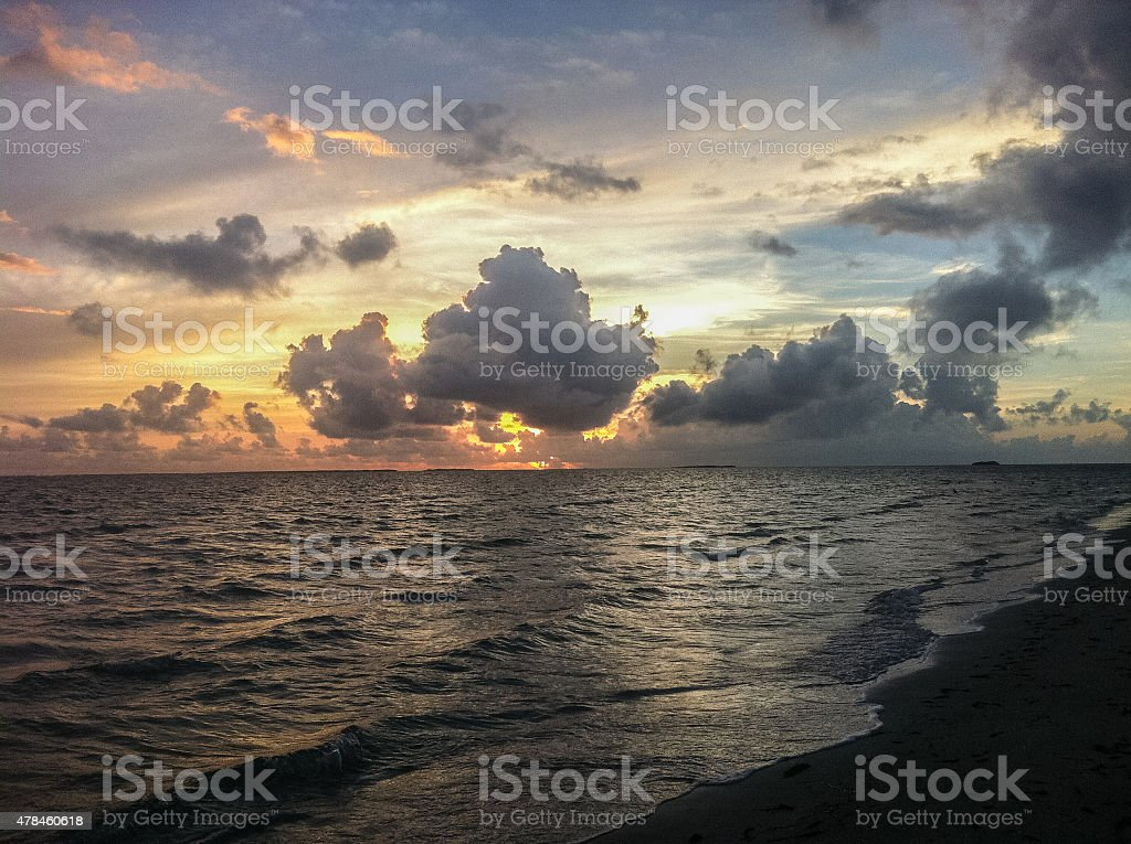 Sunset at a beach in Varadero Cuba stock photo