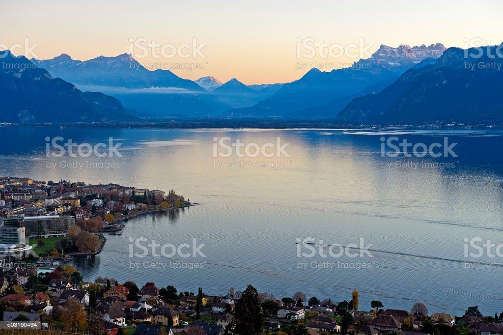 Sunset at a Lake stock photo