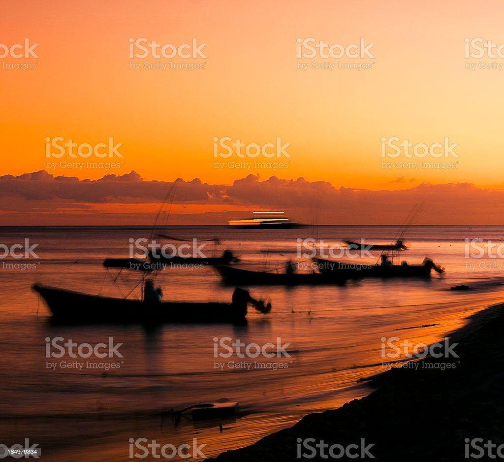sunset at a mexican beach stock photo