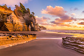 Tongaporutu beach in Taranaki region, the North Island of New Zealand, is famous for its bizarre rock formations