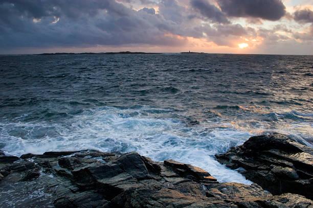 Sunset at Aakrahavn. stock photo