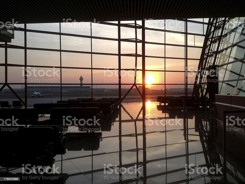 Sunset at airport by iphone 4s stock photo
