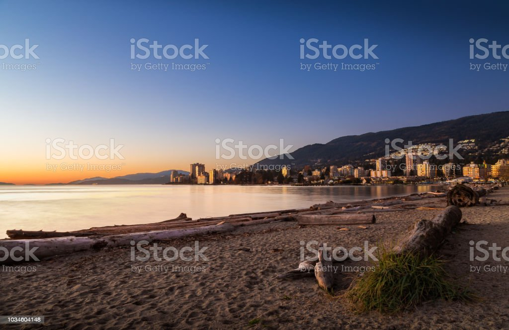 Sunset at Ambleside Park in West Vancouver. stock photo