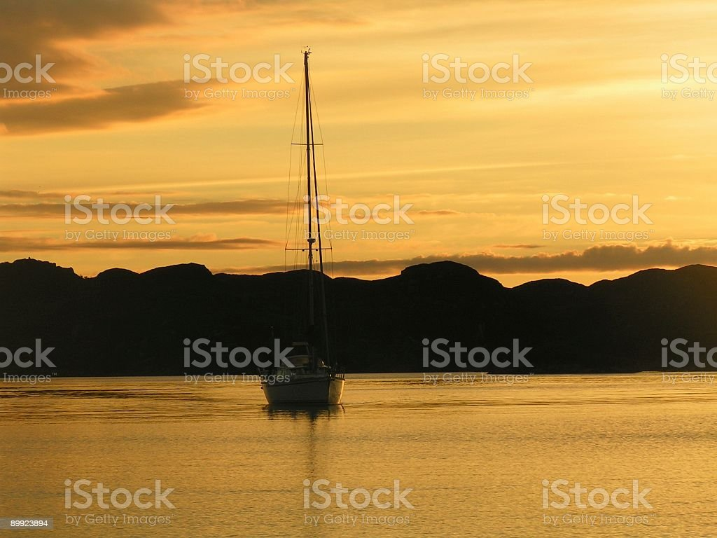 Sunset at anchor stock photo