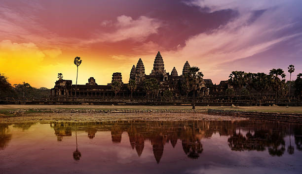 sunset at Angkor stock photo
