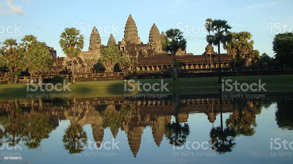 Sunset at Angkor Wat Temple - Siem Reap, Cambodia, Camboya stock photo