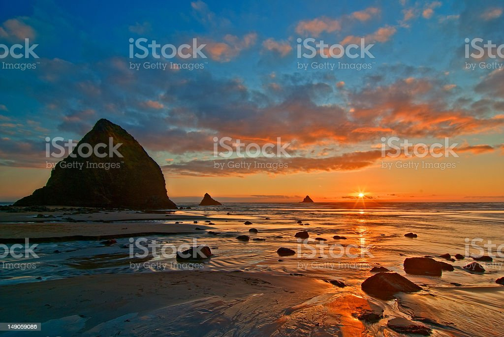 Sunset at Arch Cape, Oregon stock photo