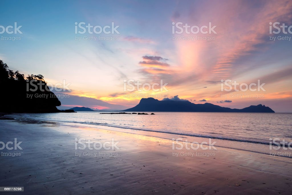 Sunset at Assam beach in Bako National Park, Borneo, Malaysia stock photo