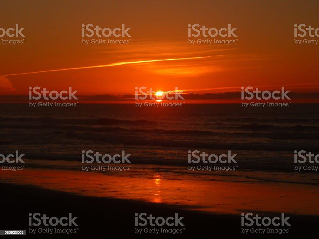 Sunset at Atlantic ocean, Morocco stock photo