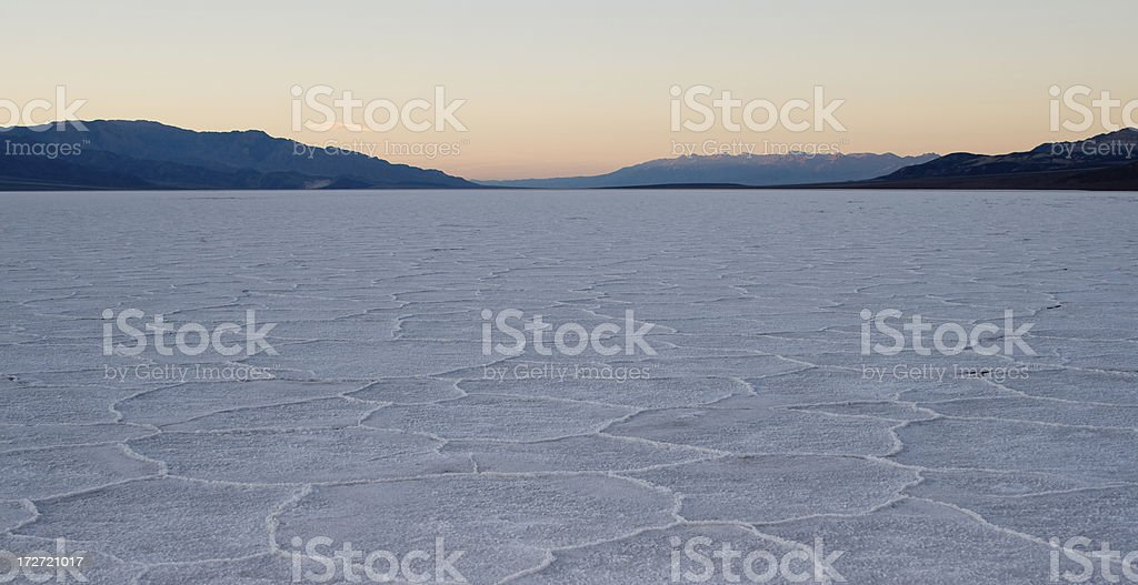 Sunset at Badwater, Death Valley National Park stock photo