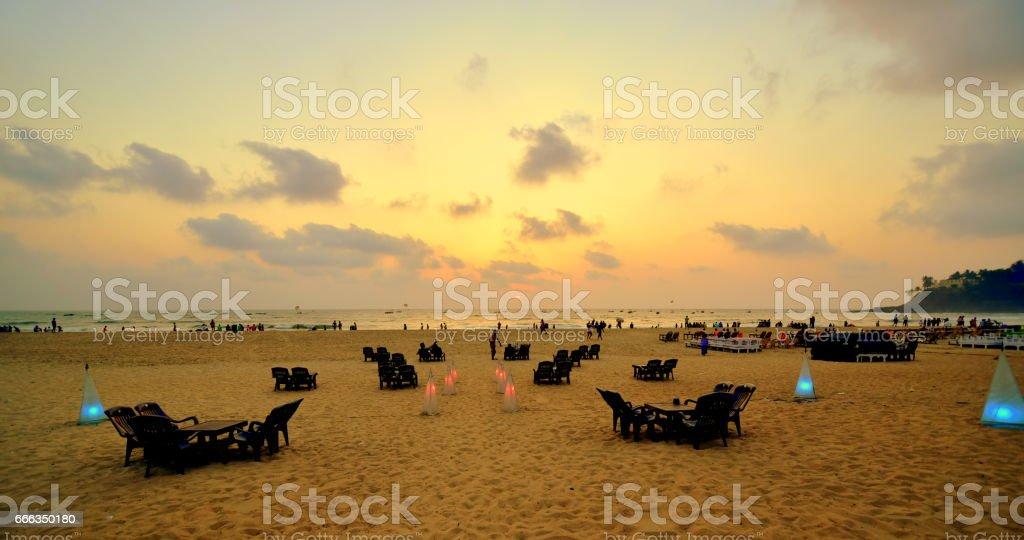 Sunset at Baga beach in Goa stock photo