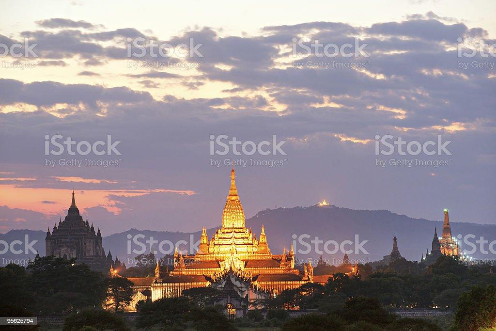 Sunset at Bagan, Myanmar. stock photo