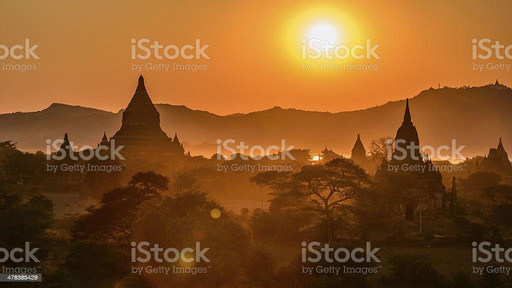Sunset at Bagan stock photo