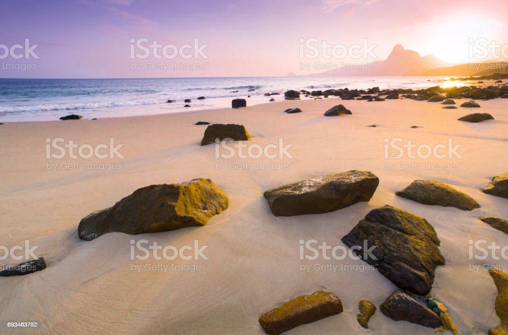 Sunset at Bai nhat beach, Condao island - Vietnam. stock photo
