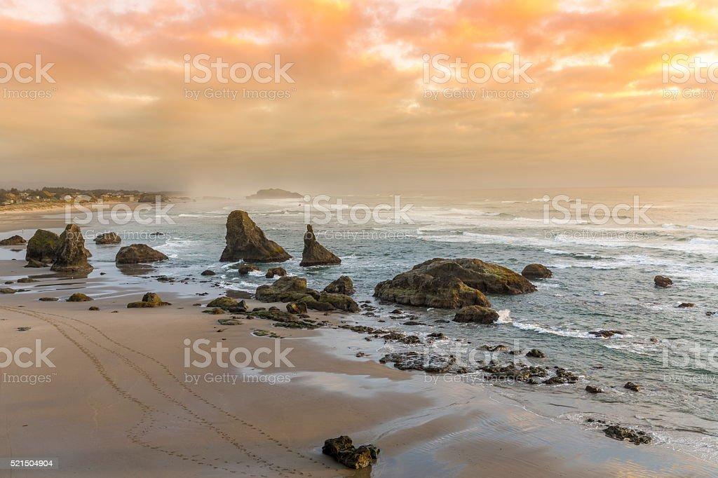Sunset at Bandon Beach, Oregon stock photo