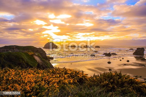 Sunset at Bandon Beach, Oregon-USA