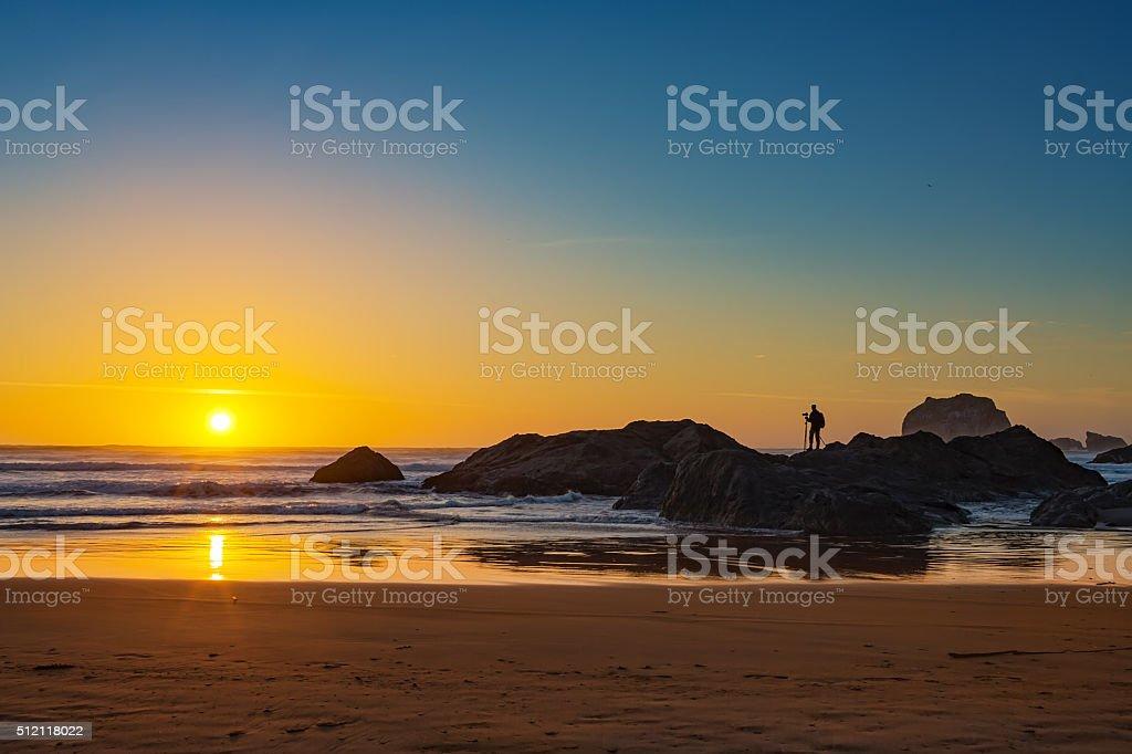 Sunset at Bandon Beach stock photo