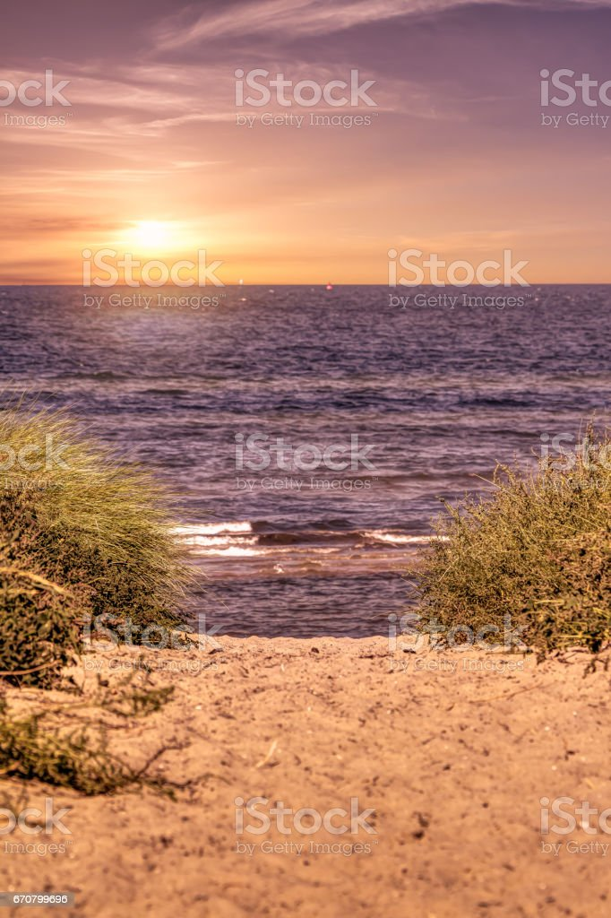 Sunset at beach in summer stock photo