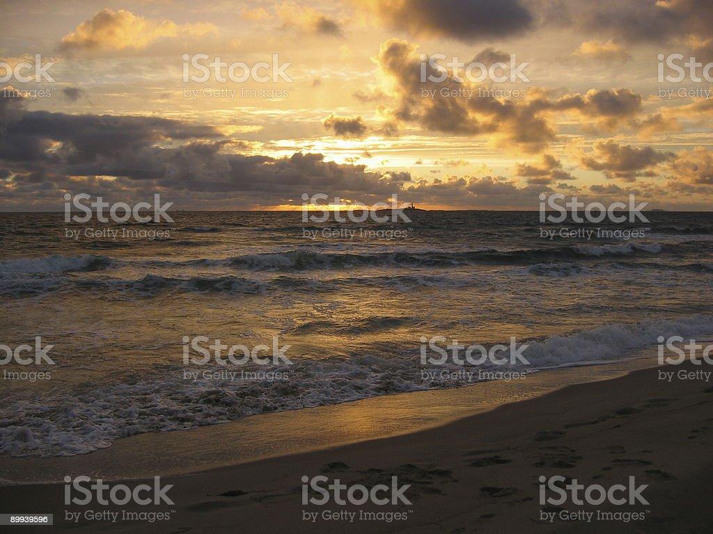 Sunset at beach royalty-free stock photo