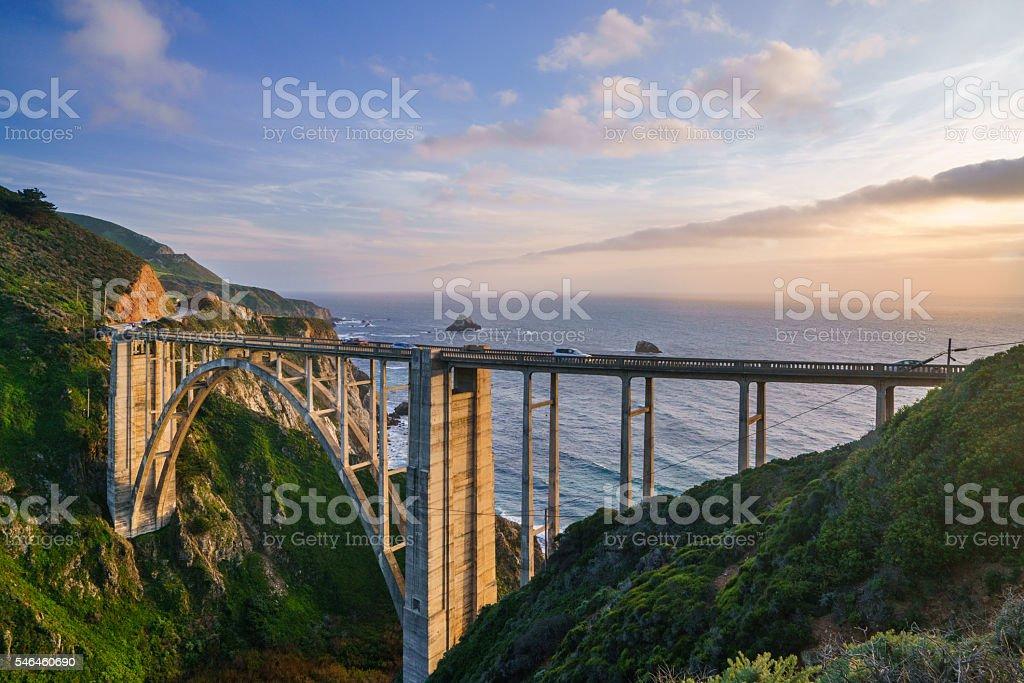 Sunset at Bixby Bridge, California stock photo